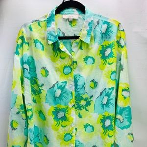 Ann Taylor's long sleeve shirt like green white L